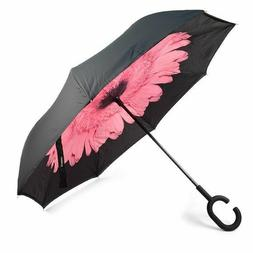 Pink Flower Double Layer Inverted Windproof Umbrella UV Prot