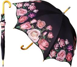"48"" Pink Rose Print Auto-Open Umbrella  - RainStoppers Rain/"