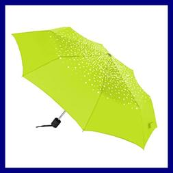 Shedrain Polka Dot Compact Manual Umbrella LIME GREEN W/Whit