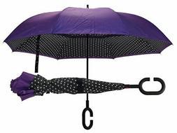 Polka Dot Purple Revers-A-Brella Inverted Auto Open Close C-