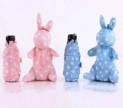 Polka dot umbrella bunny Cute kawaii pink blue bag tote mini