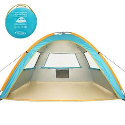 ZOMAKE Pop Up Tent 3 4 Person, Beach Tent Sun Shelter for Ba