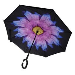 Portable C Handle Inverted Umbrella Flower for Women Men Acc