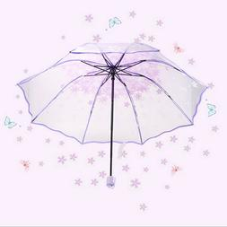 Portable Compact Sun Rain Pocket Umbrellas Transparent for W