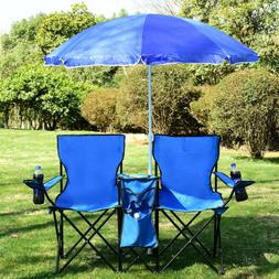 Portable Folding Picnic Double Chair with Umbrella Camping F