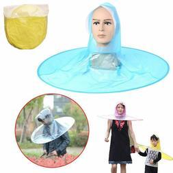 Hiking Portable Outdoor Rain Coat Hands Free Waterproof Folding Umbrella Hat
