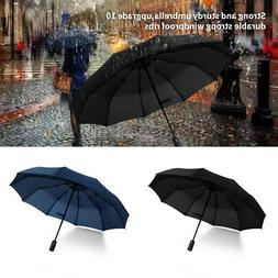 Automatic Folding Compact Umbrella Windproof 10Ribs Men Wome