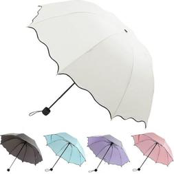 Portable Windproof Umbrella Anti-UV Sun Rain 3 Folding Compa