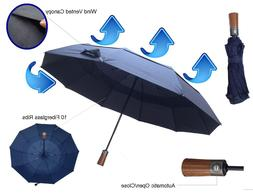 Premium Compact Windproof Umbrella Wind Vented Canopy & 10 S