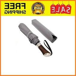 Prestige Travel Umbrella, Real Wood Handle, Auto Open Close,