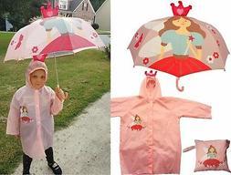 Princess Print Pop-Up Umbrella and Raincoat Set - RainStoppe