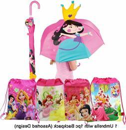 Princess Umbrella and Pink Princess Backpack - 2 pc Gift Set