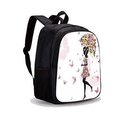 """13.7"""" Print Sublimated Backpack,Girls,Girl with Floral Umbre"""