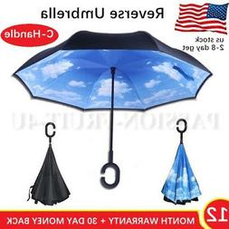 RAIN SNOW UMBRELLA C-HANDLE INVERTED REVERSE DOUBLE LAYER UP