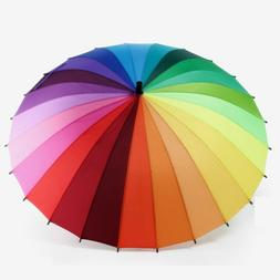 Rainbow Umbrella Men Women Big Outdoor Umbrella Windproof 24