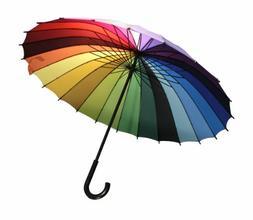 Streamline Rainbow Color Wheel Umbrella, Rain Protection, Mu