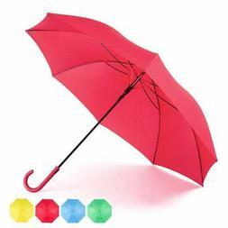 Red Umbrella Auto Open with J Hook Handle, 50IN Stick Umbrel