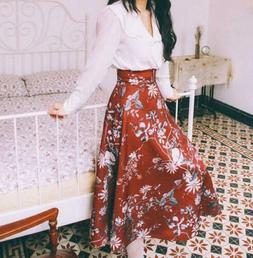 Retro Women's Midi Skirts Printing Floral High Waist Umbrell