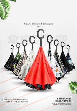 C-Handle Revers Umbrella Double Layer Umbrella Windproof Fol