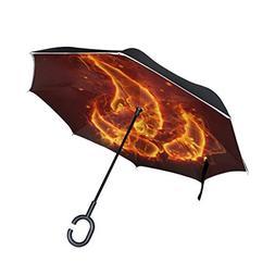 Ladninag Reverse Umbrella Fire Flame Inverted Umbrella Rever