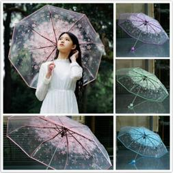 Romantic Transparent Clear Flowers Bubble Dome Umbrella Half
