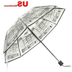 See Through Clear Transparent Umbrella Compact Fold Rain Eif