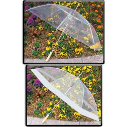 "SET OF 2:  48"" Clear Auto Open Golf Umbrellas, All Clear or"