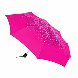 ShedRain Polka Dot Compact Manual Umbrella Hot Pink w/ White
