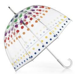 Totes Signature Bubble Umbrella Clear Rainbow Pride