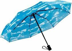 Crown Coast Sky Cloud Pattern Travel Umbrella - 60 MPH Windp
