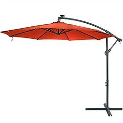Sunnydaze 10-Foot Offset Cantilever Solar Patio Umbrella wit