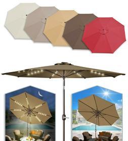 Solar Patio 6/7/8/9ft Umbrella LED Lighted 6/8 rib Market Ti