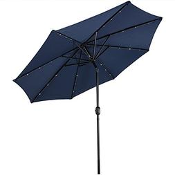 Sunnydaze Solar Outdoor Patio Umbrella with LED Lights, Tilt