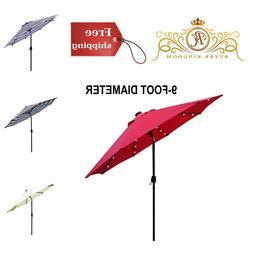 Solar Umbrella Patio LED Lighted Outdoor Garden Shades Water