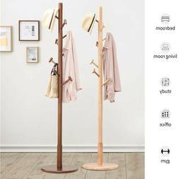 Solid Wooden Coat Rack Hat Stand Tree Clothes Hanger Umbrell