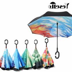 Yesello Starry Sky Anti UV Inverted Umbrella Reverse Folding
