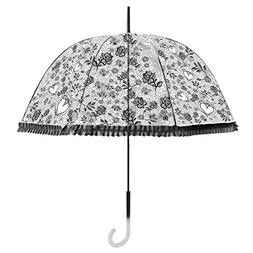 Becko Black Stick Umbrella/Flower and Heart Pattern Clear Ca