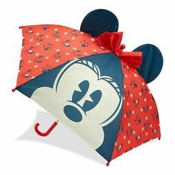 Disney Store Minnie Mouse Red Polka Dot 3D Ears Umbrella for