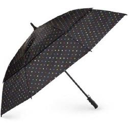 "Totes Stormbeater Vented 60"" Golf Umbrella Black Polka Dot N"