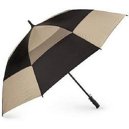 "Totes Stormbeater Vented 60"" Golf Umbrella Black Tan NeverWe"