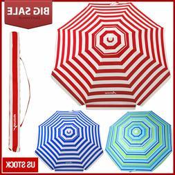 Striped Beach Umbrella UV Protection w/ Adjustable Tilt Tele