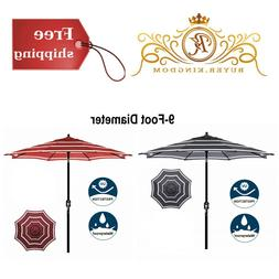 Striped Patio Umbrella Outdoor Market Shade Black Red White
