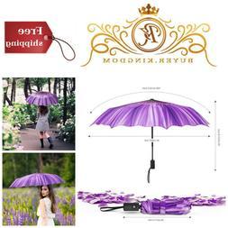 Summer Travel Automatic Windproof Compact Folding Umbrella A