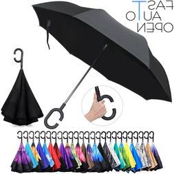 SUN/RAIN UMBRELLA DOUBLE LAYER UPSIDE DOWN C-HANDLE INVERTED