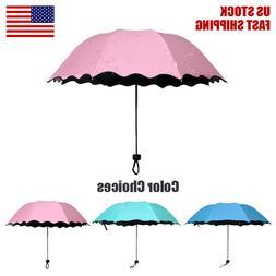 Sunny Rainy Folding Umbrella Magical Bloom Flower UV Protect