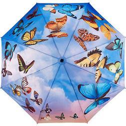 Galleria Swirling Butterflies Folding Umbrella Umbrellas and