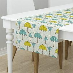 Table Runner Umbrella Umbrella On A Rainy Day Blue Green Yel