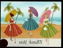 Thank You Fifties Polka Dot Dress Beach  Umbrella -  Thank Y