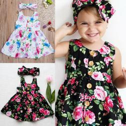 toddler kids baby girls floral dress princess