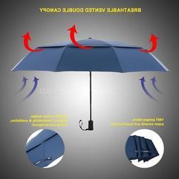 TOMSHOO Windproof Travel Umbrella Auto Vented Wind Resistant